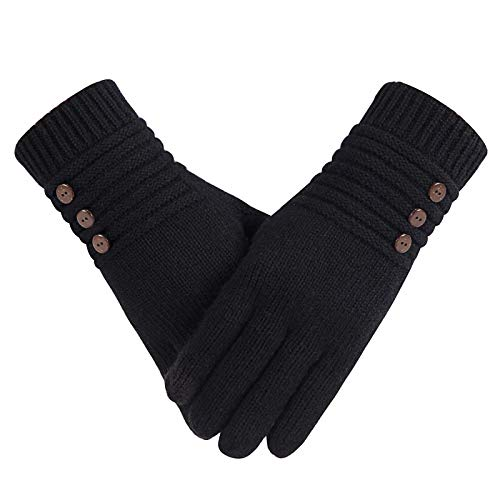Winter Wool Warm Gloves For Women, Anti-Slip Knit Touchscreen Thermal Cuff Snow Driving Gloves With Thick Thinsulate Lining (Black)