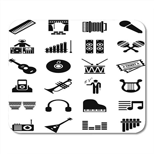 Mauspads Symbol Klavier Musik Piktogramm Percussion Trompete Kopfhörer Song Akkordeonist Mauspad für Notebooks, Desktop-Computer Matten Büromaterial