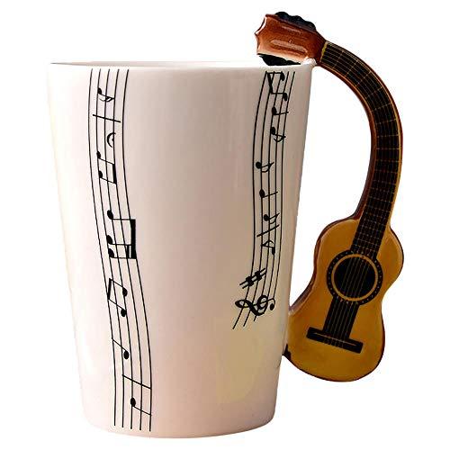 Taza con mango único de guitarra y notas artísticas que sostienen una taza de té, café, leche, taza de cerámica, violín, regalo para músicos-Estados Unidos_A