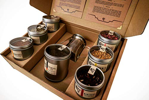 TeaItUp Tee Geschenk-Set zum Mischen, Entdecken & Genießen | 7 Teesorten | inkl. Teekanne | 100+ Variatonen möglich | für Männer & Frauen, Jung & Alt | Tee-Box | Geschenk-Idee