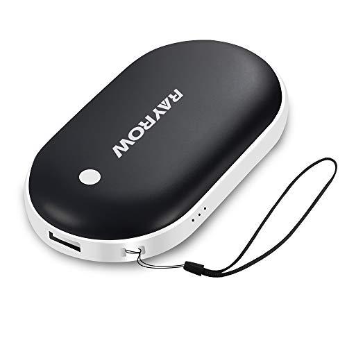 Wiederaufladbare Handwärmer, 5200mAh USB Power Bank, Handwärmer tragbar, Wärme ideal für arthritische Patienten Schmerzlinderung, doppelte Seitentasche Handwärmer, Geschenk für den Winter (black)
