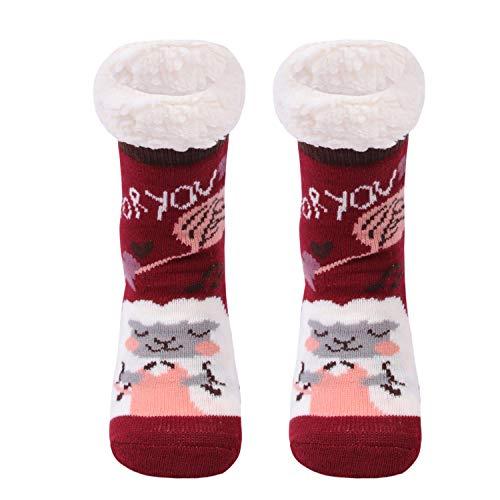 Gather Other Gruesos cachemira lana calcetines de piso, casa abrigados calcetines de mujeres, antideslizantes tejidos calcetines de alfombra (Rojo)