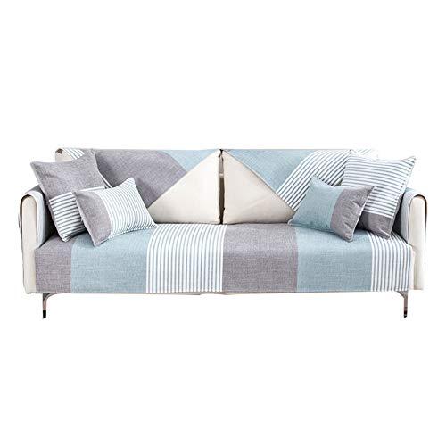JIAGU Funda de sofá Antideslizante Resistente a Las arru Sencillo de Rayas de Chenilla cojín del sofá Cuatro Estaciones Universal Fundas de colchón Cuero Tela del Respaldo del sofá