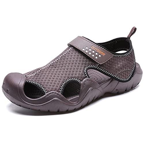 Zapatillas de verano Aqua Shoes Sandalias de verano transpirables para hombre, suela gruesa, puntera cerrada, para senderismo, pesca y playa (color: marrón, talla de zapato: 44)