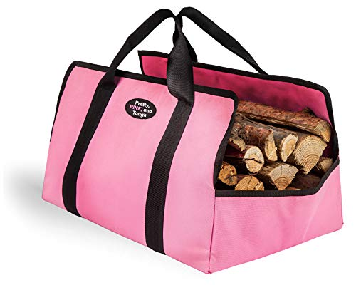 Gears Out Pink Firewood Tote Bag  Log Carrier Durable Double Layered Oxford Fabric Large Fireplace Wood Holder