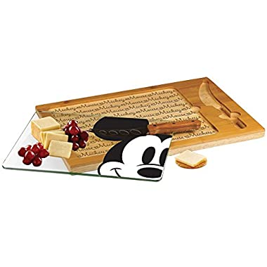 Disney Mickey Mouse Cheese Cutting Board Set Bamboo w/ Glass Surface