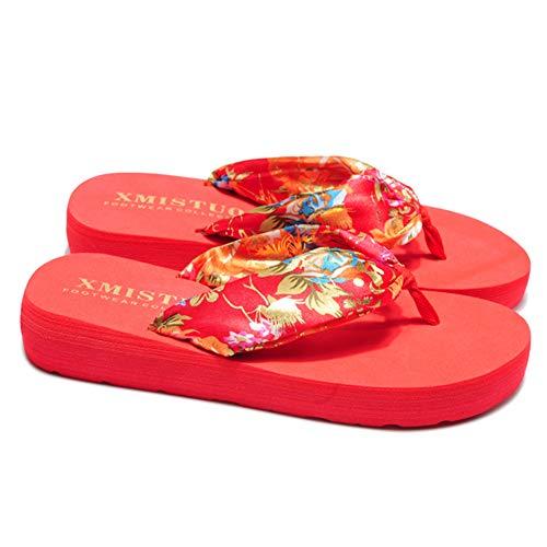 Sandalias Mujer Verano, Estilo Bohemio cinta seda decorado, Zapatillas Antideslizantes de playa, Rojo, 36 EU (24cm)