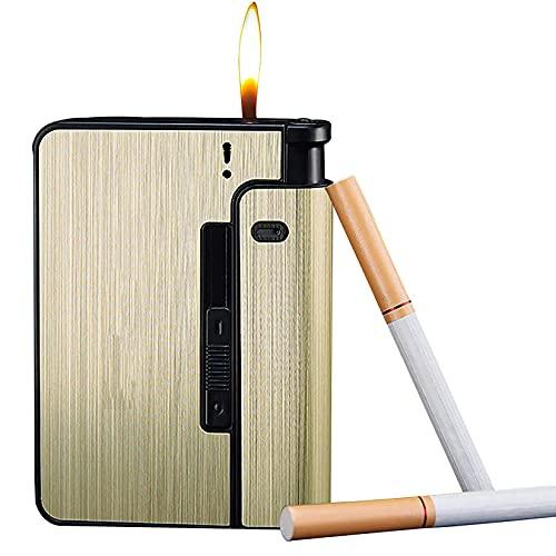 HHYHOME Estuche para Cigarrillos 2 En 1,Cigarrillos De Expulsión Automática, Resistente Al Viento Y A La Humedad, Fácil De Reemplazar,para 9 Cigarrillos Regulares,Regalos De Cigarros para Hombres,D