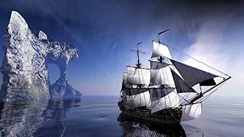 Velero navegando por el mar Puzzle 500 Piezas para Adultos Niños 500 Piezas Brain Challenge Puzzle De Madera Personaje De Niña De Fantasía Educativo para Niños para Desarrollar Aficiones