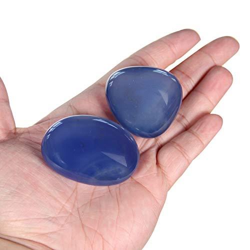 Orientrea 2 Pezzi di Pietra di Agata Blu, Agata Blu Pietra di Palma, Pietra Chakra e guarigione, Pietra lucidata, 100% Naturale e Artigianale