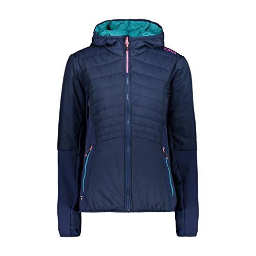 CMP Damen Kapuzenjacke, extraleicht und wattiert mit Primaloft Black Eco Jacke, Blue, D46