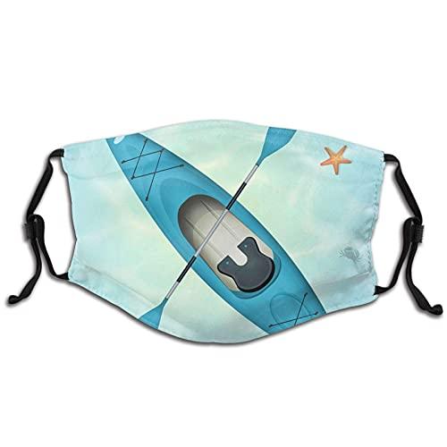 Top Vista de Kayak y Estrellas de Mar en Agua Tranquilo Cara M-A-S-K Bandana Lavable Para Adultos Hombres Mujeres