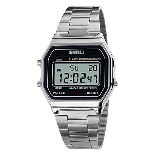 JTTM Reloj Digital para Hombre con Correa De Acero Inoxidable Y Fecha, Color Negro, Oro O Oro Rosa, Reloj Digital para Hombre,Plata
