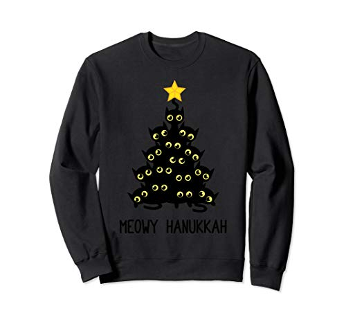 Meowy Hanukkah Cat Christmas Tree Jewish Chanukah Gift Sweatshirt