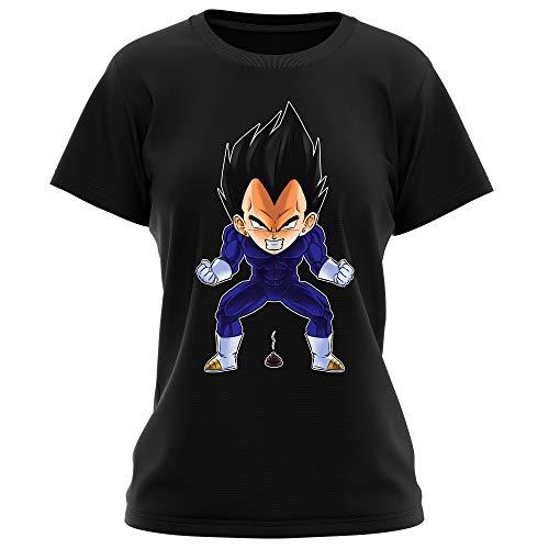 Okiwoki T-Shirt Femme Noir Dragon Ball Z - DBZ parodique Végéta : Super Caca Vol.2 (Parodie Dragon Ball Z - DBZ)