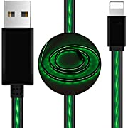 AoLiPlus 6.6 FT Longer LED Charging Cable Visible Flowing Light UP USB Charger Sync Data Cords Compatible with Phone X/8/8 Plus/7/7 Plus/6/6 Plus/5/5S/5C/SE/Pad and More