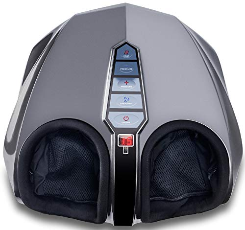 Miko shiatsu foot massager with deep-kneading, multi-level settings, and switchable heat charcoal grey (renewed)