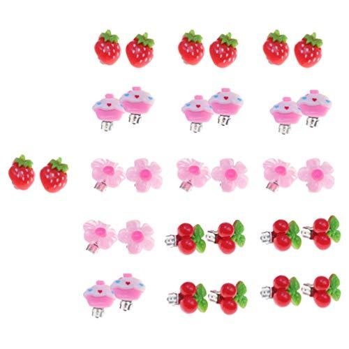 TOYANDONA Orecchini a Clip da 16 Pezzi per Bambine Adorabile Orecchino a Forma di Frutta Orecchini a Clip Giocattolo