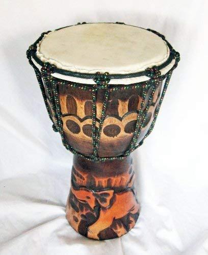 Double Duck Mano- Tallado Yembe Bongo Tambor Tallado de de una Sola Pieza de Madera Elefante Tallado Nuevo 30 CM