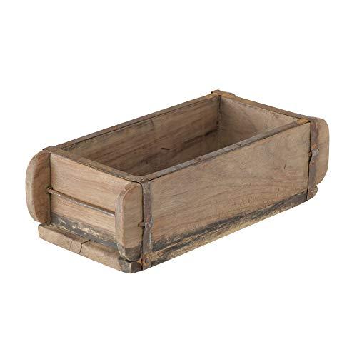 Ziegelform 32x15x10cm Pflanzkasten Dekobox Zweikammer Vintage Holz Box Holzkiste mit Metallbeschlägen braun Ziegelkasten Pflanzbox Shabby Chic
