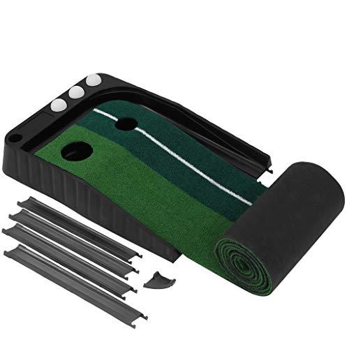 WEELOLOE Indoor Golf Putting Green Portable Practice Mat Auto Ball Return 9.85'