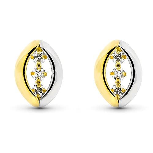 Pendientes de Bandas Mujer Oro Bicolor 18 Kt / 750 Mls Circonitas Blancas 12x8 Mm