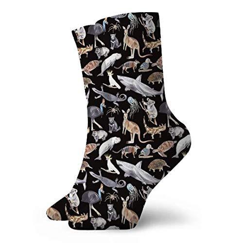 All Australian Animals Dark Cushion Basketball Athletic Outdoor Compression Crew Sock,Mens Youth Socks