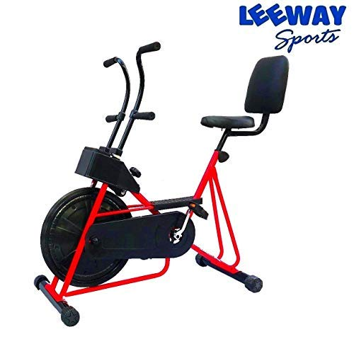 Leeway Exercise Cycle with Back Support & Fix Handle Gym Bike for Weight Loss and Home Use - (Red)