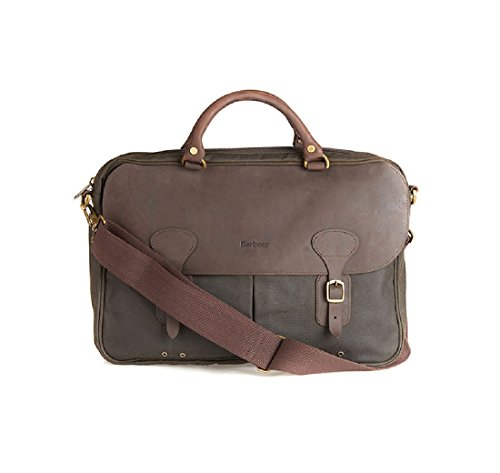 Barbour Leather Briefcase Wax - Maletin Unisex adulto verde oliva Talla única
