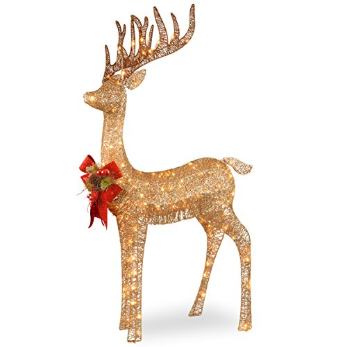 National Tree Company lit Artificial Christmas Décor Includes Pre-strung White LED Lights and Ground Stakes, 4 ft, Sisal Splendor Champagne Standing Deer