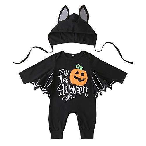 KILUS Baby Jungen Mädchen Halloween Fledermaus Kostüm My First Halloween Strampler Overall mit Hut Outfits Gr. 6-12 Monate, Schwarz