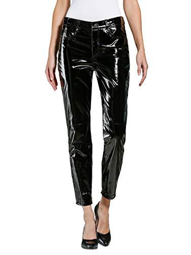 Alba Moda Lack-Lederhose in modischer Form Schwarz