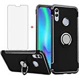 Phone Case for Huawei Honor 8X with Tempered Glass Screen Protector Cover and Magnetic Stand Ring Holder Slim Hybrid Hard Rugged Cell Accessories Kickstand Protective Huwai Honor8X X8 Cases Men Black