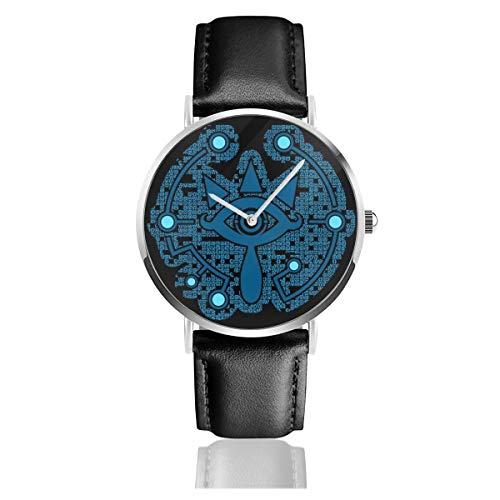 Unisex Business Casual Legend of Zelda Magic Sheikah Schiefer-Uhren Quarz Leder Uhr mit schwarzem Lederband für Männer Frauen junge Kollektion Geschenk