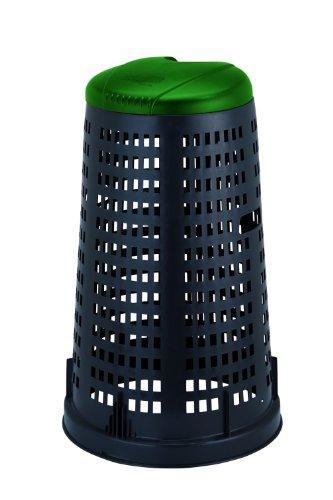 Stefanplast 24705 Trespolo con Coperchio, Plastica, Nero/Verde