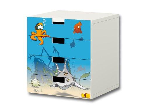 Bajo el agua pegatinas muebles   S4K06   adecuado para la cómoda con 4 cajónes STUVA de IKEA   (mueble no incluido) STIKKIPIX