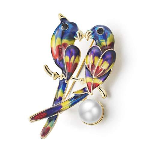 AIXZHEN broche voor papegaai, dubbele vogels in de vorm van parels met gekleurde nagellak voor sieraden voor bruiloften van dieren
