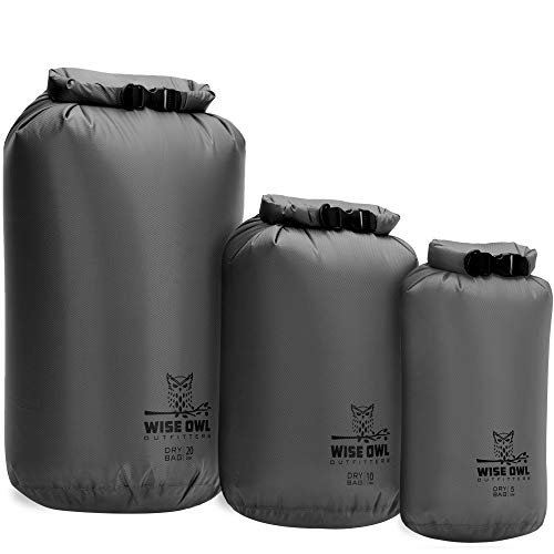 Wise Owl Outfitters Waterproof Dry Bag - 3 Pack, Lightweight, Airtight, Fully Submersible Dry Bags for Kayaking, Rafting, Camping, Hiking, Boating & Beach