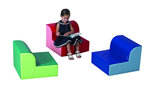 "Children's Factory Library Trio Chairs, 20"" by 20"" by 15"" Each (Set of 3) – Primary Colors – Comfortable Seating for a Range of Ages/Activities, Sturdy/Lightweight, Durable Wipe Clean Cover Material (CF322-388)"