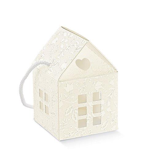 Subito disponibile 20 Pezzi Harmony Bianco Casa Casetta portaconfetti 10x10x10 cm