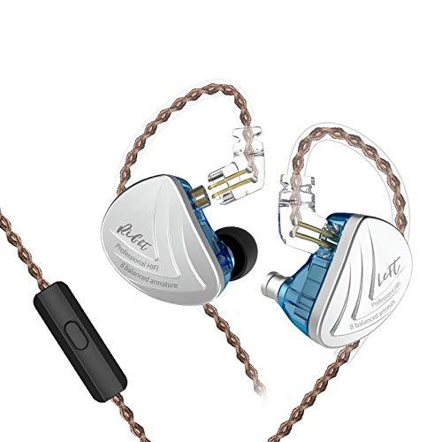KZ AS16 Auriculares Dieciséis Unidades Equilibrado Armadura HiFi Cancelación de Ruido Auriculares Deportivos de 3,5 mm para Auriculares (con micrófono, Azul)