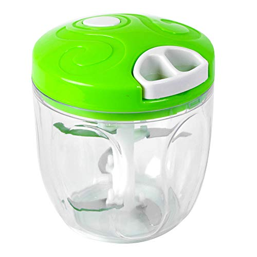 900ml Manual Food Chopper 5 Blades Pull Food Processor with Blending Blade Easy Pull Smart Chopper for Vegetables Nuts Meat (Green)