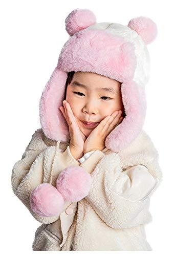 Berretto da Neve Bambino Panda Beanie Pon Pon Cappello con Paraorecchie Bambina Cappellino Invernale Cappelli Peluche Animali Earflap Hat Cappellini Pile Cuffia Termica Capello Antivento Regalo Natale