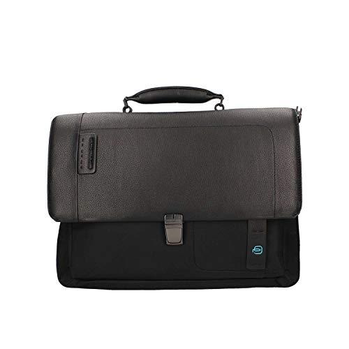 Piquadro P16 Laptoptasche mit iPad Fach/Gerät Connequ für die Verbindung mit dem Smartphone 41 cm Chevron/Nero