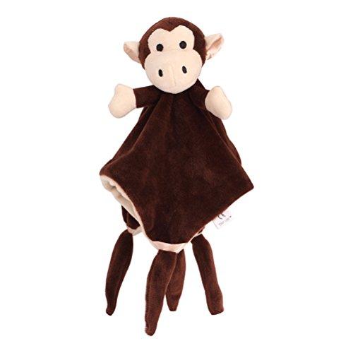 YeahiBaby Doudou Manta de Seguridad para Bebés Mantitas de Arrullo Peluche Animal Felpa Coffee Monkey