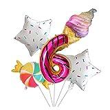Ysguangs Globos 5pcs de 40 Pulgadas Número de rosquilla Papel de Aluminio Caramelos Globo Helado del Arco Iris Ajustado de decoración de Feliz cumpleaños (Color : 6)