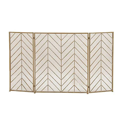 Best Prices! HYDT 3 Panel Wrought Iron Fireplace Screen, Solid Baby Safe Fire Guard Fence Spark Guar...