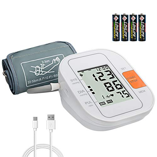Blood Pressure Monitor Upper Arm - Anfly Digital Blood Pressure Cuff, FDA Approved Quiet and Automatic BP Monitor for Home Travel, Easy to Read Large LCD Screen 4 AA Batteries USB Powered