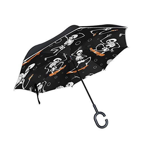 Black Skateboarding And Jumping Skeletons Rainproof and Windproof UV Protection Double Layer Folding Inverted Umbrella with C-Shaped Handle Reverse Umbrellas For Car Rain Outdoor
