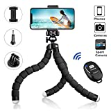 Phone Tripod Stand, YeahWhee Flexible Cell Phone Camera Selfie Tripod Stand Holder Mount with Bluetooth Remote and Foldable Phone Clip for iPhone, Android Phone, Sports Camera Gopro